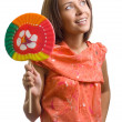 Beauty woman with lollipop on white background — Stock Photo