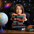 Young woman with many books at the desk on space background — Foto de Stock