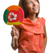 Beauty woman with lollipop on white background — Stock Photo #4066302