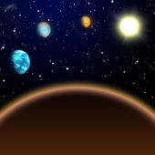 The inner solar system, view from Mars to sun — Stock Photo