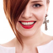 Stylish beautiful woman portrait on white background - Stock Photo