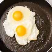 Two fried eggs in a frying pan — Stock Photo