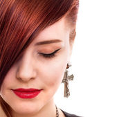 Attractive red hair woman close up style portrait — Stock Photo
