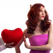 Boyfriend hands present surprice valentines heart to woman — Stock Photo