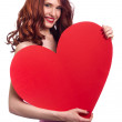 Valentines Day. Woman holding Valentines Day heart sign with cop — Foto Stock