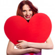 Stock Photo: Valentines Day. Woman holding Valentines Day heart sign with cop