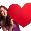 Valentines Day. Woman holding Valentines Day heart sign with cop — Stock Photo #4756465