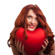 Valentines Day. Woman holding Valentines Day heart sign with cop — Stock Photo #4756468
