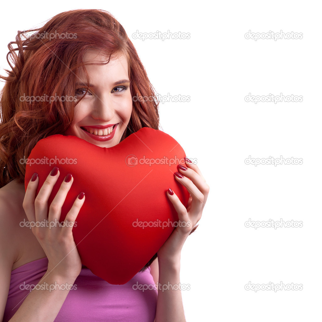 Valentines Day. Woman holding Valentines Day heart sign with copy space — Stock Photo #4756448