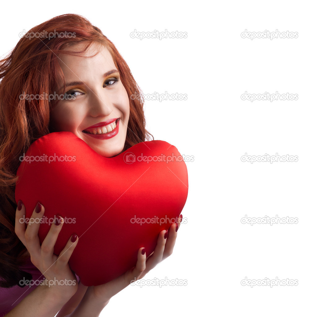 Valentines Day. Woman holding Valentines Day heart sign with copy space — Stock Photo #4756451