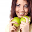 Young happy smiling woman with two apple, isolated on white — ストック写真