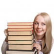 Friendly College student girl with books isolated — Stock Photo