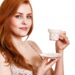 Beautiful Woman With Coffee.Isolated on white.Copy-space — Stock Photo