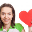 Valentines Day. Woman holding Valentines Day heart sign with cop — Stock Photo #4900048