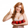 Young happy smiling woman with four red apple isolated on white — Stock Photo