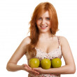 Young happy smiling woman with three green apple isolated on whi — Stock Photo