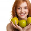 Young happy smiling woman with three green apple isolated on whi — Stock Photo #4900083