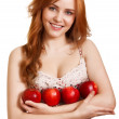 Young happy smiling woman with three red apple isolated on white — Stock Photo #4900086