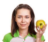 Giovane donna felice con mela verde isolato su bianco — Foto Stock