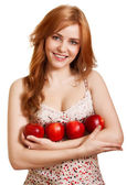 Young happy smiling woman with three red apple isolated on white — Stock Photo