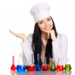 Young scientist at the table with test tubes on white background — ストック写真
