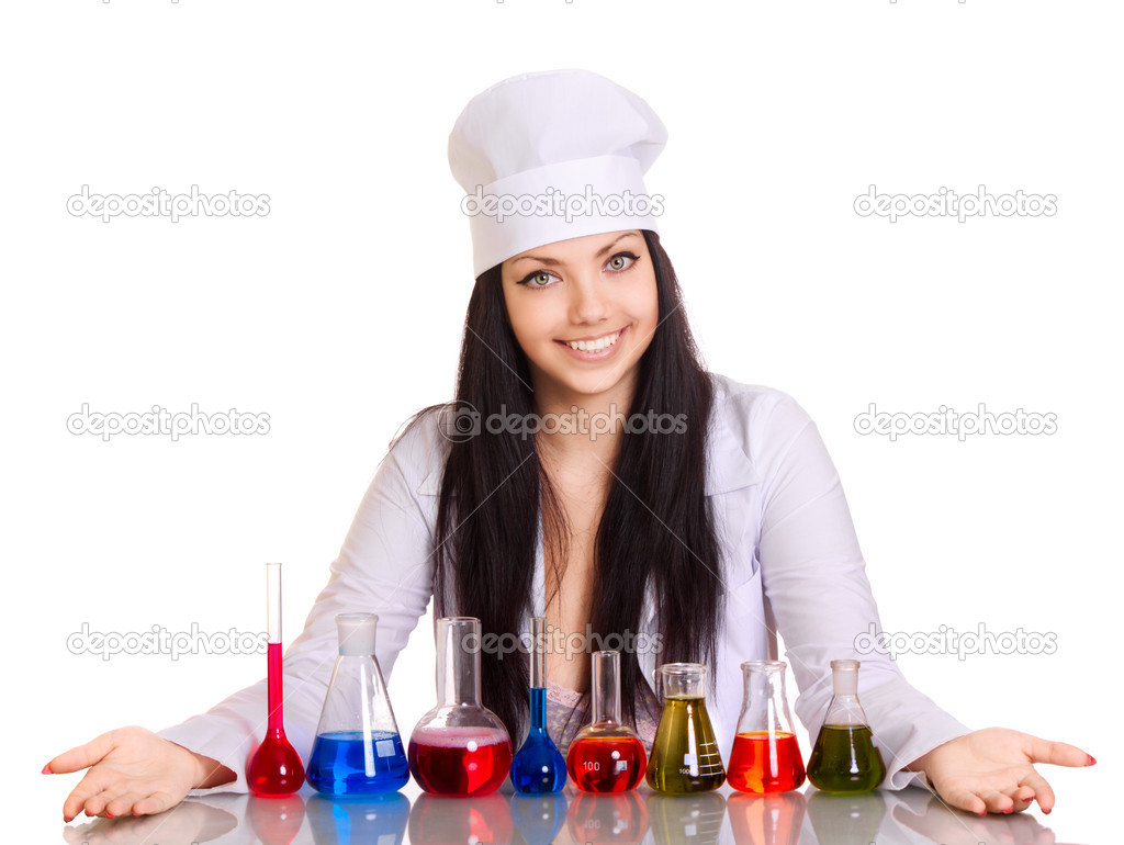 Young scientist at the table with test tubes on white background — Stock Photo #4951543