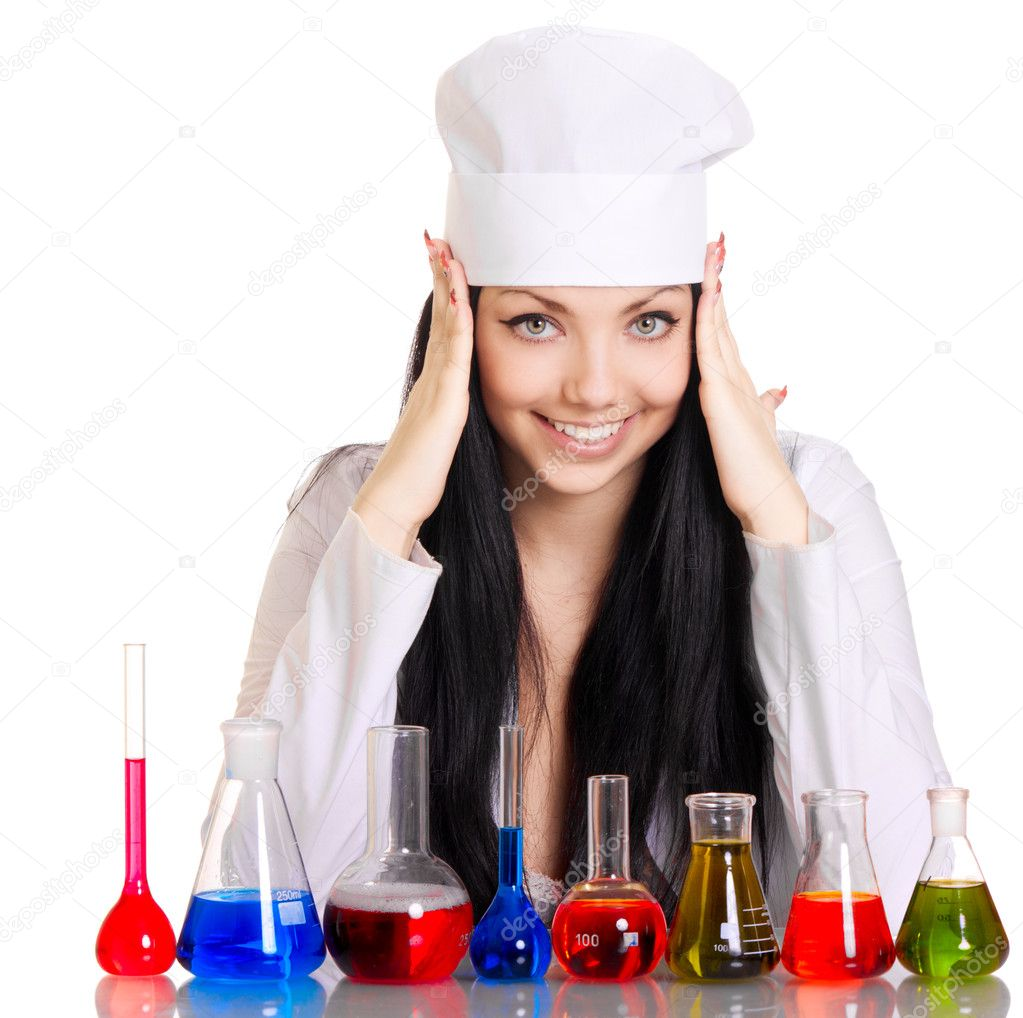 Young scientist at the table with test tubes on white background — Stock Photo #4951545