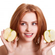 Young happy smiling woman with two apple isolated on white — Stock Photo