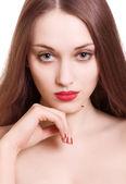 портрет красивой женщины с чувственные губы красный на белом backg — Стоковое фото