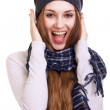 Happy Young Beautiful Woman.Surprised winter Girl over white — Stock Photo