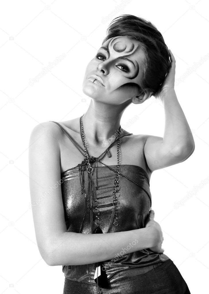 Portrait of beautiful woman with silver bodyart - bw image — Stock Photo #5089109