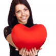 Valentines Day. Woman holding Valentines Day heart sign with cop — Stock Photo