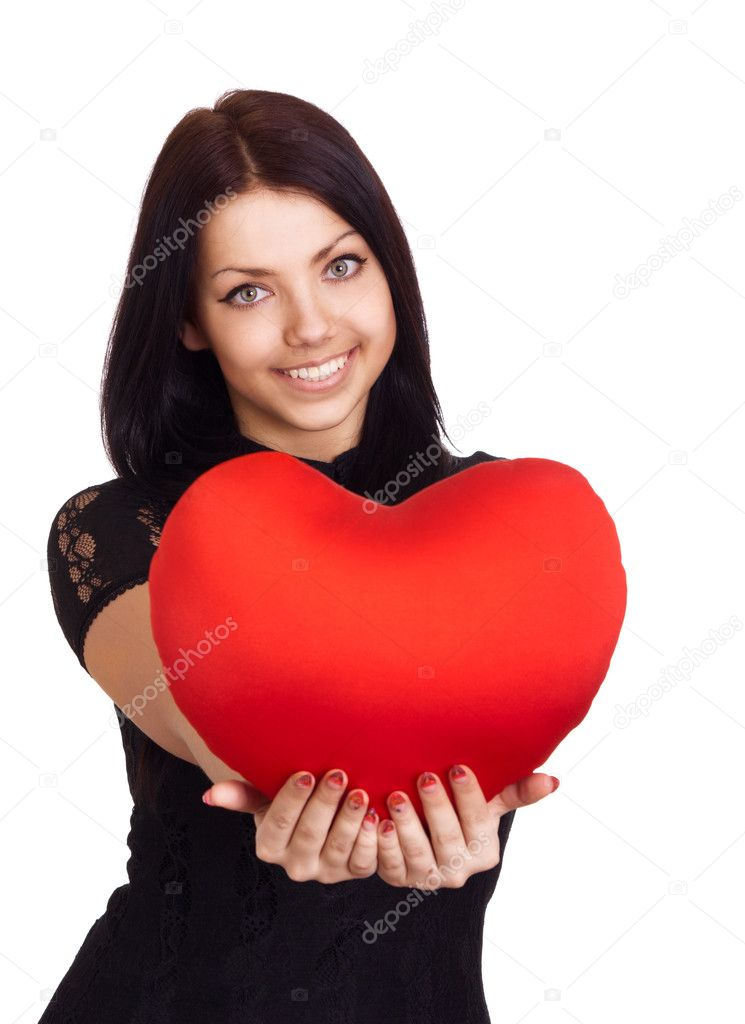 Valentines Day. Woman holding Valentines Day heart sign with copy space  — Foto Stock #5119927