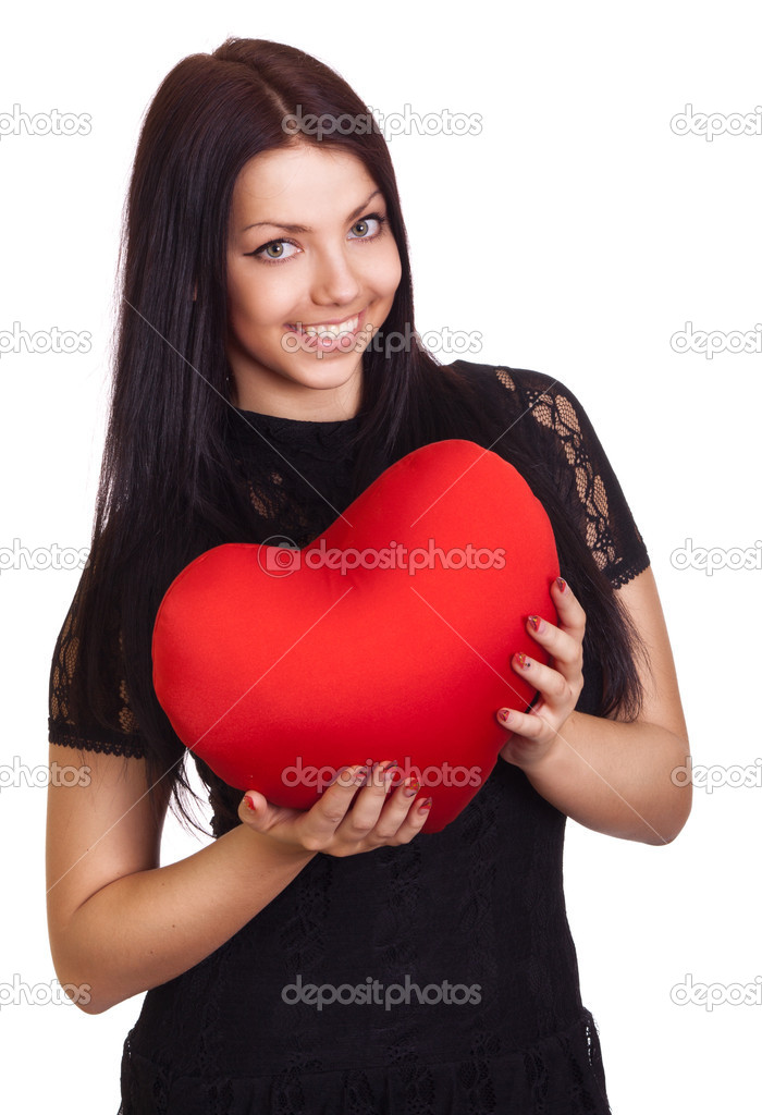 Woman holding Valentines Day heart sign with copy space — Stock Photo #5119929