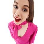 Fun smiling woman in pink dress — Stock Photo #5164339