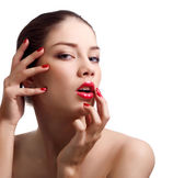Close-up portrait of sensual caucasian young woman with red brig — Stock Photo