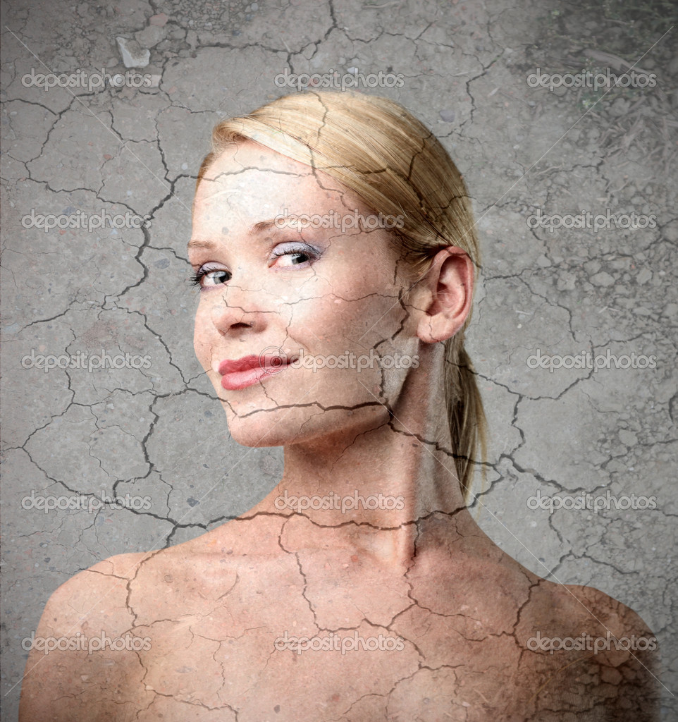 Beautiful woman with crackled background — Stock Photo #4013364
