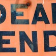 A Dirty, Grungy, Orange Dead End Sign — Stock Photo