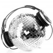 Shiny discoball with dj headphones - 图库照片