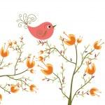 Cute flowers and bird — Stock Vector