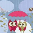Vector de stock : Floral greeting card with owls