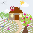 Childlike illustration of house and owl — Stock Vector