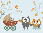 Baby wandelwagen met uilen — Stockvector