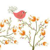 Schattig bloemen en vogels — Stockvector