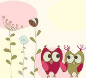 フクロウと花のグリーティング カード — ストックベクタ
