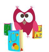 Cartoon shopping bags and owl — Stock Vector