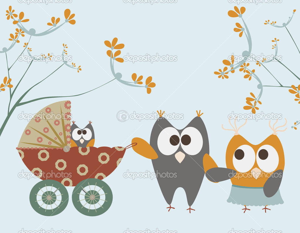 Baby stroller with owls — Stock Vector #4030756