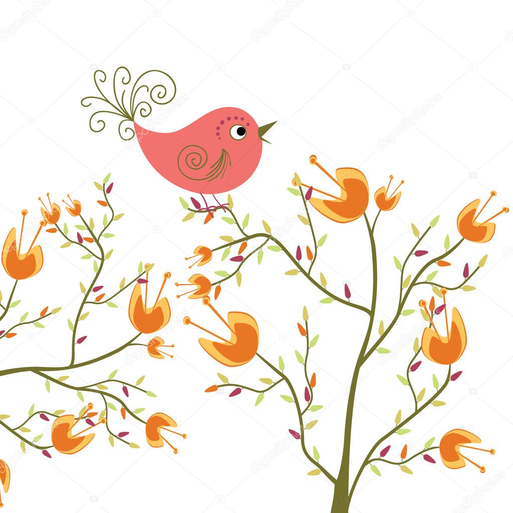 Cute flowers and bird  Stock Vector #4030868