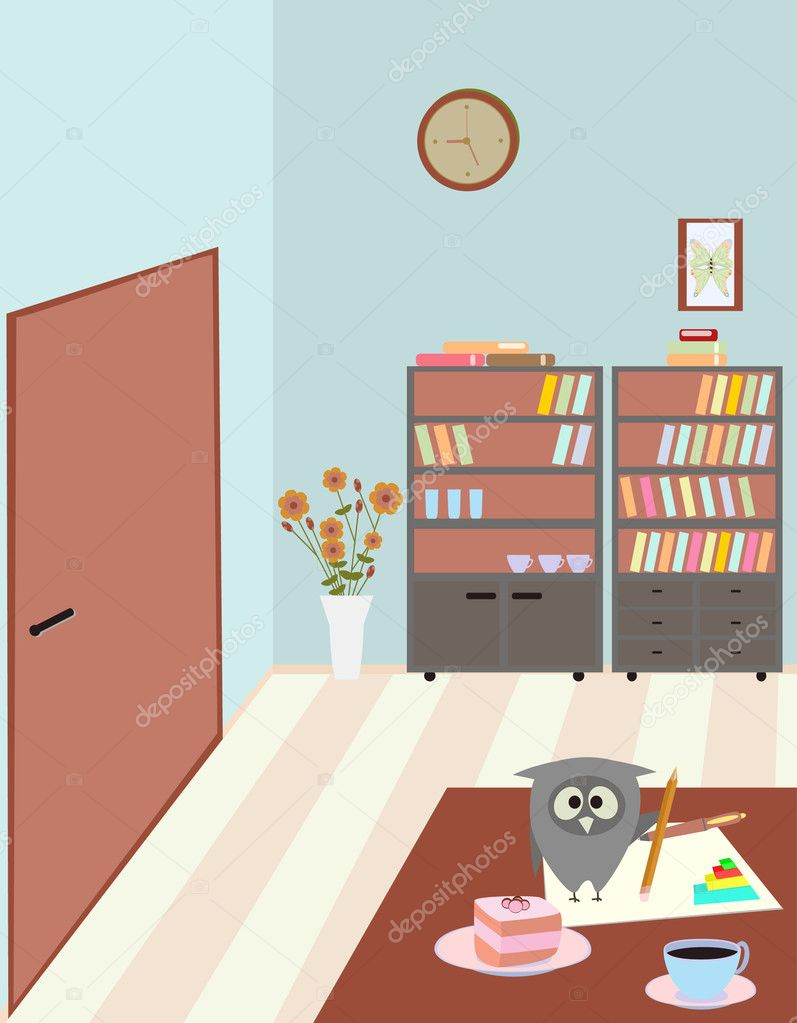 Teacher's room and owl — Stock Vector #4030947