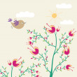Stock Vector: Cute flowers and bird